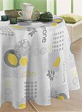 CALITEX Wachs-Tischdecke Zest gelb rund 180 cm