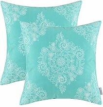 CaliTime Cushion Cover Pillow Shell 50cm X 50cm Weinlese Blumen Türkis