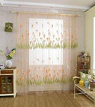 Calla Blüte leichte Chiffon Siebdruck unelastisch Polyester Vorhang vertikal-Jalousien Fenster, 1 Tafel , orange red , 100*200cm