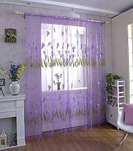 Calla Blüte leichte Chiffon Siebdruck unelastisch Polyester Vorhang vertikal-Jalousien Fenster, 1 Tafel , purple , 100*270cm