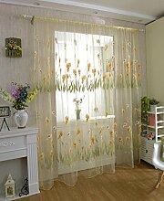 Calla Blüte leichte Chiffon Siebdruck unelastisch Polyester Vorhang vertikal-Jalousien Fenster, 1 Tafel , yellow , 100*200cm
