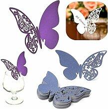 Calli 50pcs Schmetterling Name Platz Kartenhalter Hochzeit Tisch Weinglas Dekoration