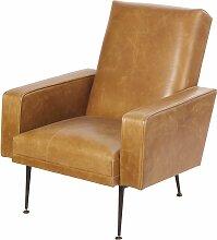 Camelfarbener Sessel mit schwarzem Metall Tenor