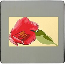 Camellia with Bird hardboard square fridge magne