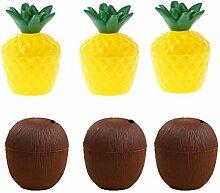Camisin 6 Stück Plastik Tropische Ananas