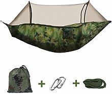 Camping Hängematte tragbar Doppel Hängematte Travel Beach Hammock Outdoor Garten Hängematte mit Moskito Netz Camouflage