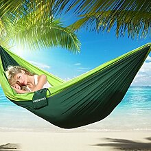 Camping Hängematte,Ubegood Ultraleichte Nylon Atmungsaktiv, schnell trocknende Portable High Strength Camping Hängematte für Outdoor Camping Strand Hängematte (Fruchtgrün und dunkelgrün)