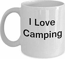 Camping Kaffeetasse - Porzellan Weiß Lustige