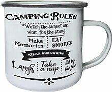 Campingregeln Retro, Zinn, Emaille 10oz/280ml Becher Tasse j474e