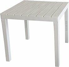Campingtisch 'BALI' Tischplatte in Holz-Optik Vollkunststoff Weiß - 78x78xH72cm