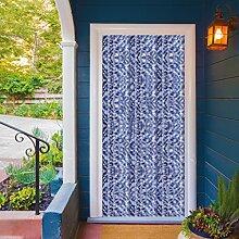 Campingvorhang Insektenschutz Flauschvorhang Blau-Weiß-Silber meliert Auswahl: 100x215 cm mit Raffhalter