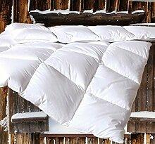 Canadian-Dreams EXTRA WARM Winter Daunendecke 240x220 Daunenbett Wärmeklasse 4, 2220g neue GÄNSEDAUNEN, Hochstegbett 8cm hohe Innenstege (240x220 cm, weiß)
