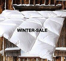 Canadian-Dreams Winter Daunendecke EXTRA WARM 155x220 Daunenbett 1380g neue GÄNSEDAUNEN Hochstegbett 8cm hohe Innenstege Wärmeklasse 4 (155x220 cm, weiß)