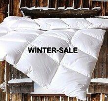 Canadian-Dreams Winter EXTRA WARM Daunendecke 135x200 Daunenbett, 1140g GÄNSEDAUNEN Hochstegbett 8cm hohe Innenstege Wärmeklasse 4 (135x200 cm, weiß)