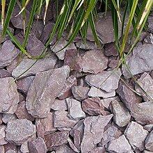 Canadian Slate violett, flacher Schiefersplitt mit violetter Farbe, dekorativer Zierkies für den Garten, 30-60mm, 20 kg Sack, Kieselsteine, Zierspli