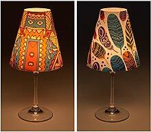 "Candle Lights / Lampenschirme für Weingläser / Deko-Lampenschirme / Lampe / Teelicht / Lampshades / Lampenschirm-Set ""Jocy"" Tischdeko, 2-teilig"