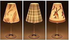 """Candle Lights / Lampenschirme für Weingläser / Deko-Lampenschirme / Lampe / Teelicht / Lampshades / Lampenschirm-Set """"Melissa"""" Tischdeko, 3-teilig"""