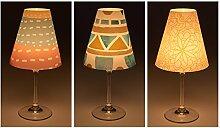 """Candle Lights / Lampenschirme für Weingläser / Deko-Lampenschirme / Lampe / Teelicht / Lampshades / Lampenschirm-Set """"Jarno"""" Tischdeko, 3-teilig"""