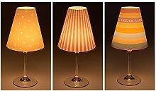 "Candle Lights / Lampenschirme für Weingläser / Deko-Lampenschirme / Lampe / Teelicht / Lampshades / Lampenschirm-Set ""Nuka"" Tischdeko, 3-teilig"