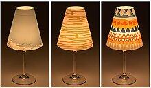 "Candle Lights / Lampenschirme für Weingläser / Deko-Lampenschirme / Lampe / Teelicht / Lampshades / Lampenschirm-Set ""Melike"" Tischdeko, 3-teilig"