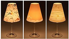 """Candle Lights / Lampenschirme für Weingläser / Deko-Lampenschirme / Lampe / Teelicht / Lampshades / Lampenschirm-Set """"Jonna"""" Tischdeko, 3-teilig"""