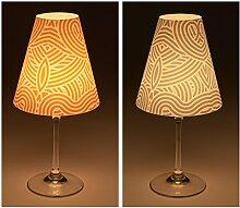 """Candle Lights / Lampenschirme für Weingläser / Deko-Lampenschirme / Lampe / Teelicht / Lampshades / Lampenschirm-Set """"Jemma"""" Tischdeko, 2-teilig"""