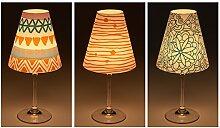 "Candle Lights / Lampenschirme für Weingläser / Deko-Lampenschirme / Lampe / Teelicht / Lampshades / Lampenschirm-Set ""Tabea"" Tischdeko, 3-teilig"