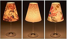 "Candle Lights / Lampenschirme für Weingläser / Deko-Lampenschirme / Lampe / Teelicht / Lampshades / Lampenschirm-Set ""Feline"" Tischdeko, 3-teilig"