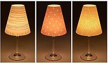 """Candle Lights / Lampenschirme für Weingläser / Deko-Lampenschirme / Lampe / Teelicht / Lampshades / Lampenschirm-Set """"Arved"""" Tischdeko, 3-teilig"""
