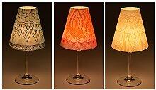 """Candle Lights / Lampenschirme für Weingläser / Deko-Lampenschirme / Lampe / Teelicht / Lampshades / Lampenschirm-Set """"Lorna"""" Tischdeko, 3-teilig"""