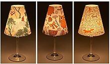 "Candle Lights / Lampenschirme für Weingläser / Deko-Lampenschirme / Lampe / Teelicht / Lampshades / Lampenschirm-Set ""Livia"" Tischdeko, 3-teilig"