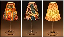 "Candle Lights / Lampenschirme für Weingläser / Deko-Lampenschirme / Lampe / Teelicht / Lampshades / Lampenschirm-Set ""Keno"" Tischdeko, 3-teilig"