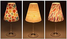 """Candle Lights / Lampenschirme für Weingläser / Deko-Lampenschirme / Lampe / Teelicht / Lampshades / Lampenschirm-Set """"Rachel"""" Tischdeko, 3-teilig"""