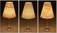 """Candle Lights / Lampenschirme für Weingläser / Deko-Lampenschirme / Lampe / Teelicht / Lampshades / Lampenschirm-Set """"Marian"""" Tischdeko, 3-teilig"""