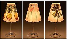 "Candle Lights / Lampenschirme für Weingläser / Deko-Lampenschirme / Lampe / Teelicht / Lampshades / Lampenschirm-Set ""Jarla"" Tischdeko, 3-teilig"