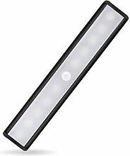 candora 10LED Motion Sensor Lichter, Schrank Beleuchtung wiederaufladbar Aufklebbarer Wireless Motion aktiviert sofort auf/aus Lampe, Aufklebbarer überall, abnehmbarem Magnet + 3M Folie Streifen Stick, 3Leuchtmodi (Auto, auf und aus) für Schränke/Treppen/Storage room-camping Notfall LED Nacht Beleuchtung Black*1