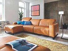 Candy Eckkombination Empire mit Metallkufe schwarz für Wohnzimmer in Stoff oder Echtleder wählbar