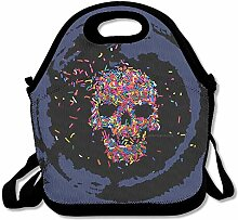 Candy Skull A Day Lunch Bag Tote Handbag Lunchbox