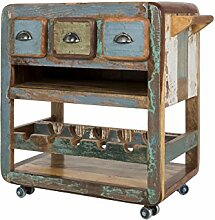 Canett Furniture Bombay Kommode Weinschrank Rollcontainer Akazie Massiv Holz mit schubladen und roller , Bunt, 87 x 46 x 85 cm