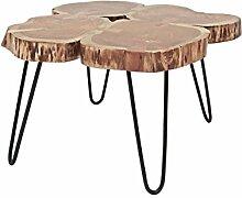 CANETT FURNITURE Victoria Couchtish Baumstamm Akazie kaffeetisch aus massivholz, Holz, Natur / schwarz, 77 x 72 x 47 cm