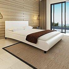 cangzhoushopping Bett 140×200 cm Kunstleder Weiß