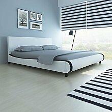 cangzhoushopping Bett 180×200 cm Kunstleder Weiß