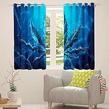 Cannabis Unkrautblätter Fenstervorhänge Blau