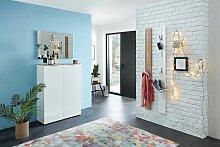 CANTON Garderoben Set Weiß Hochglanz / Eiche