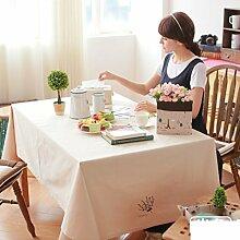 Canvas bestickt tischtuch Stoff garten tisch tuch Rechteckige tabelle tuch mit reiner farbe Decken handtücher-A 100x140cm(39x55inch)