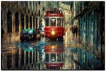 Canvas Prints Retro City Street Landscape Painting