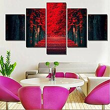CANVASSS5 Panels rote Herbstlaub Hause