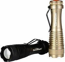 Canwelum Zoom Cree LED Taschenlampe, Hellste 3-Mode Taktische Mini Taschenlampe LED (2 x Taschenlampen und 2 x Batterien)