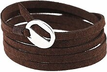 CAOLATOR Armband Leder Mehrschichtiges Armreif Einfach Punkarmband für Männer und Frauen Schmucksachen Geschenk (Dunkelbraun)