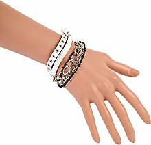 CAOLATOR Damen Herren Armband Mehrschichtiges Armband Leder und Kette Armreif Punk Armbänder Schmucksachen Geschenk Weiß